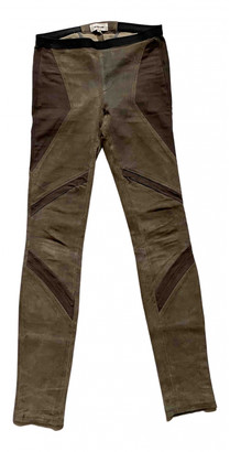 Helmut Lang Brown Leather Trousers