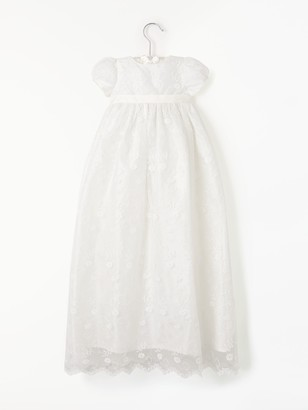 John Lewis & Partners Baby Silk Lace Gown, Cream