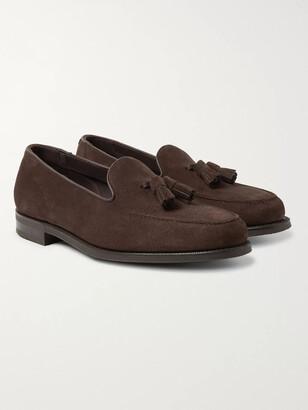Edward Green Cromer Leather-Trimmed Suede Tassled Loafers