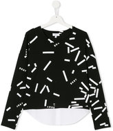 DKNY graphic hoodie with faux shirt layer