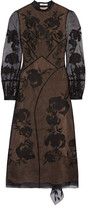 Erdem Brianna Embroidered Silk-blend Organza And Swiss-dot Tulle Dress - Black
