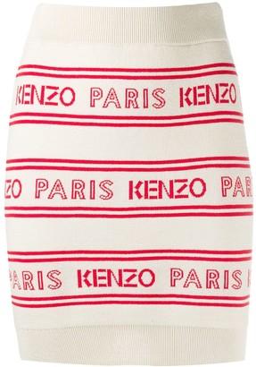 Kenzo Paris logo motif skirt