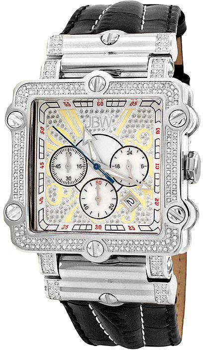 JBW Phantom Mens 2? CT. T.W Diamond Square Black Leather Strap Watch JB-6215-238-B