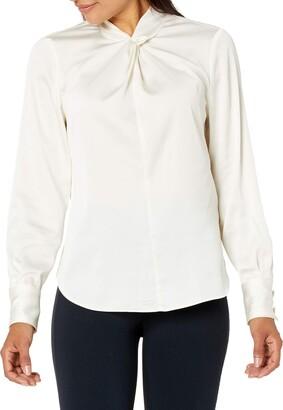 Lark & Ro Women's Standard Long Sleeve Twist Detail Woven Blouse