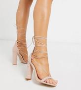 Public Desire Wide Fit Frankie tie up block heeled sandals in blush