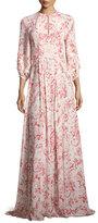 Vilshenko Toile de Jouy 3/4-Sleeve Maxi Dress, Red/White