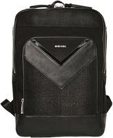 Diesel Treated Denim & Faux Leather Backpack