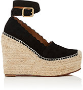 Chloé WOMEN'S ESPADRILLE WEDGE SANDALS-BLACK SIZE 5