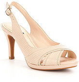 Alex Marie Mikayla Leather Sling Back Peep-Toe Pumps