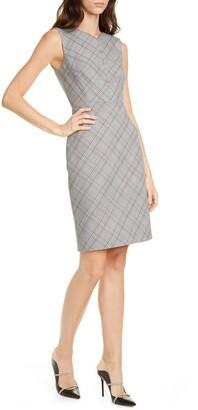 Plaid Sleeveless Sheath Dress