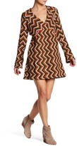 Free People Chevron V-Neck Wool Blend Sweater Dress