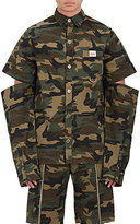 Hood by Air Men's Embroidered Camouflage Semi-Attached-Sleeve Shirt-GREEN