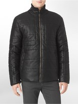 Calvin Klein Faux Leather Lightly Textured Puffer Jacket