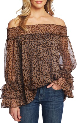 CeCe Leopard Print Off the Shoulder Ruffle Blouse