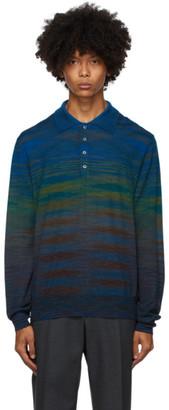 Missoni Blue Knit Striped Long Sleeve Polo