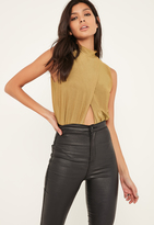 Missguided Green Slinky Wrap Front Turtle Neck Bodysuit