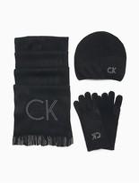 Calvin Klein 3-Piece Logo Hat, Scarf + Gloves Set