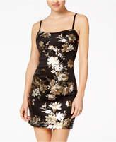 Teeze Me Juniors' Metallic Floral Bodycon Dress