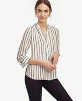 Ann Taylor Petite Stripe Shirred Popover Blouse
