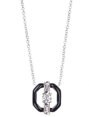 Nikos Koulis Oui 18k White Gold Open Enamel Pendant Necklace w/ Diamonds