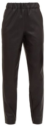 Tibi High-rise Faux-leather Trousers - Womens - Black