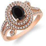 Gem Stone King 1.93 Ct Oval Black Onyx 925 Rose Gold Plated Silver Ring