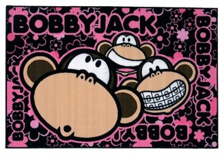 "Fun Rugs Bobby Jack Bobby Faces Black/Pink Area Rug Rug Size: Rectangle 1'7"" x 2'5"""