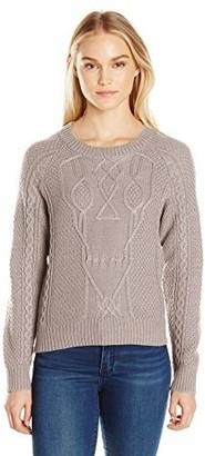 Noisy May Women's Cranium O-Neck Cable Sweater