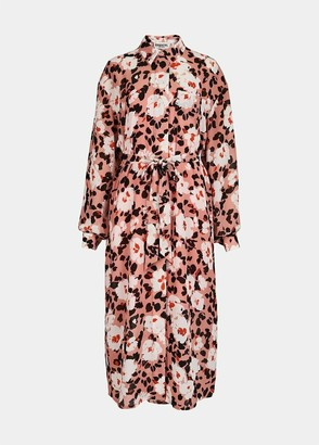 Essentiel Antwerp Pink Floral Print Voho Shirt Dress - UK 8