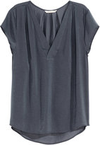 Thumbnail for your product : H&M V-neck Satin Blouse - Dark gray - Ladies
