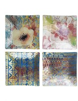 Jay Import Glass Multi Square Plates - Set of 4