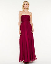 Le Château Pleated Chiffon Strapless Gown