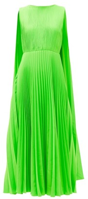 Valentino Caped-shoulder Pleated-crepe Dress - Womens - Green