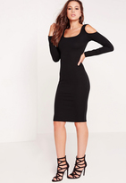 Missguided Cold Shoulder Textured Bodycon Dress Black