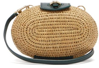Khokho - Lindi Minaudiere Leather Trimmed Basket Bag - Womens - Dark Green Multi