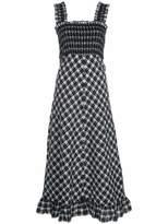 Ganni Seersucker Checkered Midi Dress