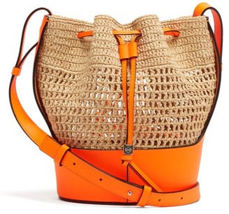 Loewe Paula's Ibiza - Balloon Drawstring-top Raffia Shoulder Bag - Orange Multi