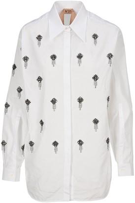 No.21 N21 Brooch Embellished Shirt