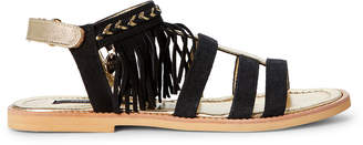 Patrizia Pepe (Toddler/Kids Girls) Black & Gold Fringe Suede Flat Sandals