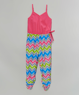 Dollhouse Pink & Green Zigzag Sleeveless Jumpsuit - Toddler & Girls