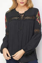 Lapis Lace-Up Embroidered Blouse