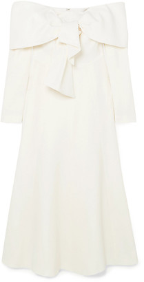 Lela Rose Off-the-shoulder Tie-front Wool-blend Crepe Midi Dress