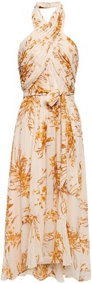 Joie Arney Floral-print Silk-blend Chiffon Hlaterneck Midi Dress