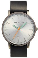 Ted Baker Leather Strap Watch, 40mm