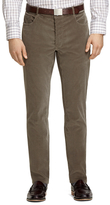 Brooks Brothers Plain-Front Taupe Five-Pocket Corduroy Trousers