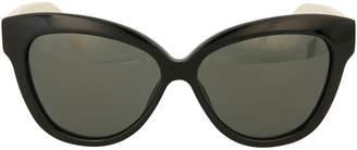 Linda Farrow Oversized Acetate/Snakeskin Cat-Eye Sunglasses