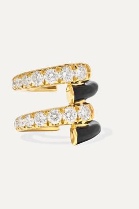 Melissa Kaye Lola 18-karat Gold, Diamond And Enamel Ear Cuff