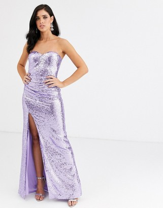 City Goddess strapless sequinned split maxi dress
