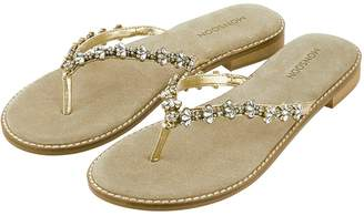 Monsoon Evie Embellished Toe Post Sandal - Gold