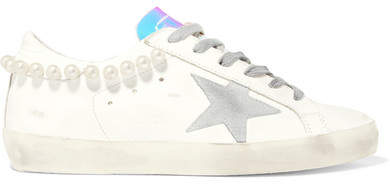 Golden Goose Superstar Embellished Distressed Leather Sneakers - White